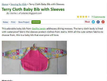Babies and Toddlers Bib Patterns