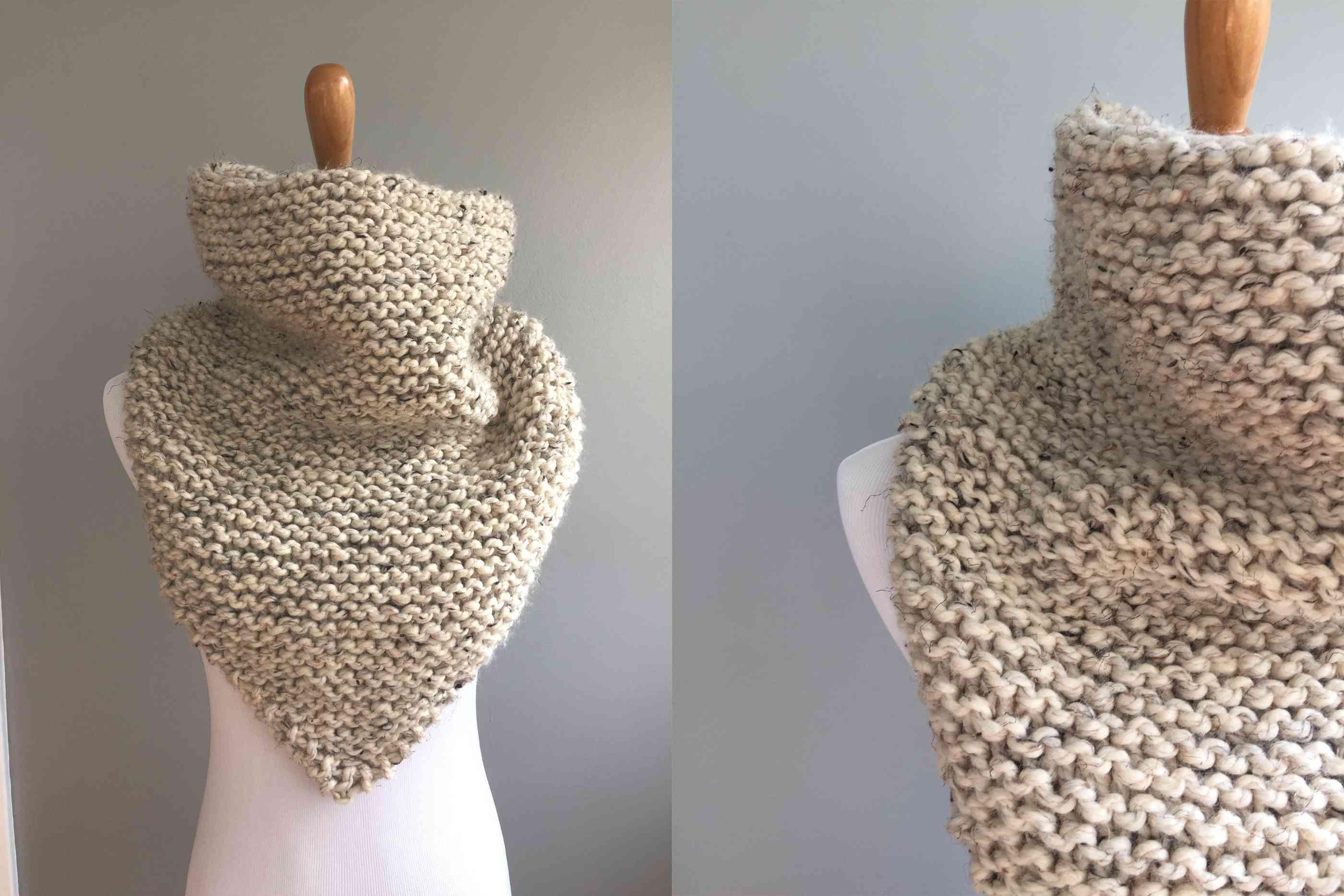 Garter Stitch Bandana Cowl Knitting Pattern