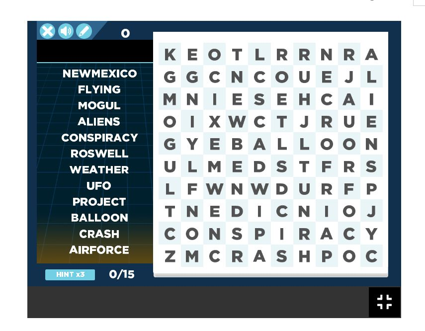 A screenshot of a New Mexico themed word search
