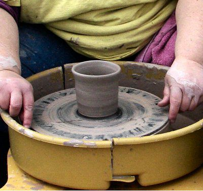 Use a potter's cutting wire to free a pot