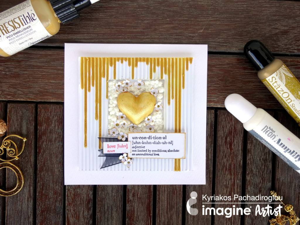 gold heart surrounded by paper flowers wedding card