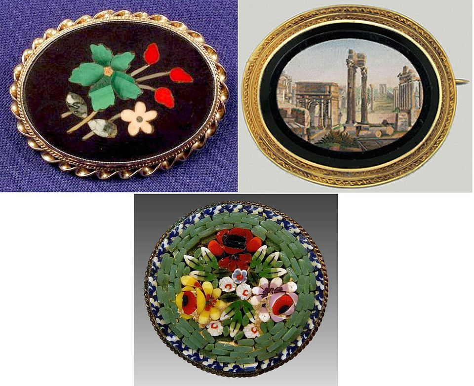 Pietra dura brooch example (top left), micromosaic brooch example (top right), and mosaic brooch example (bottom center).