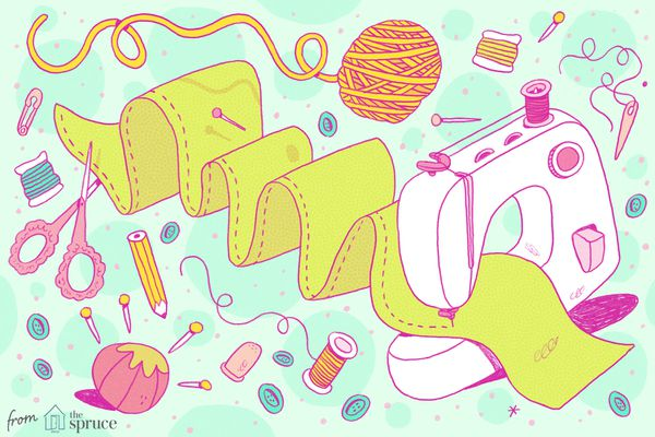 Sewing machine and sewing supplies abstract illustration