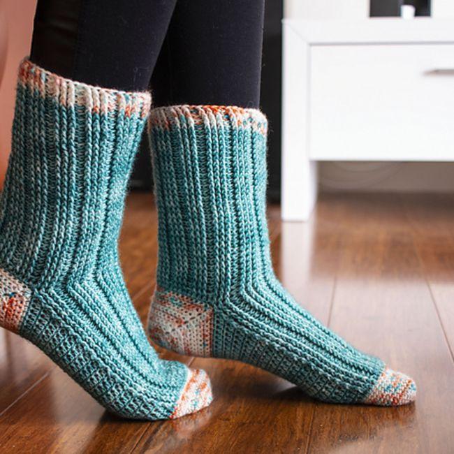 Green-tone Knit Sock