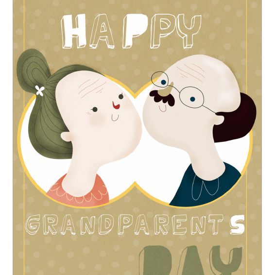 Grandparents on the front of a Grandparent's Day card.