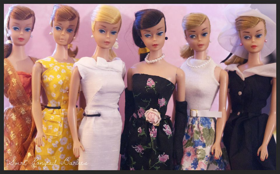 Vintage Barbies in a row