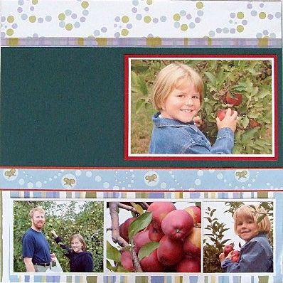 placing family photos on scrapbook page