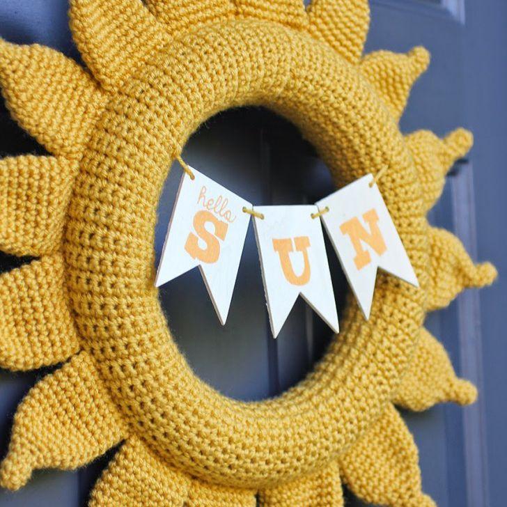 Crocheted sun wreath