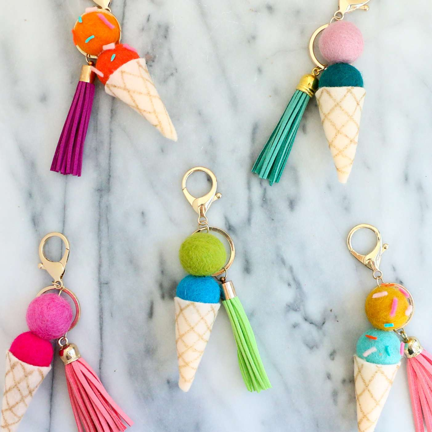 key chains made of felt pieces that look like ice cream cones
