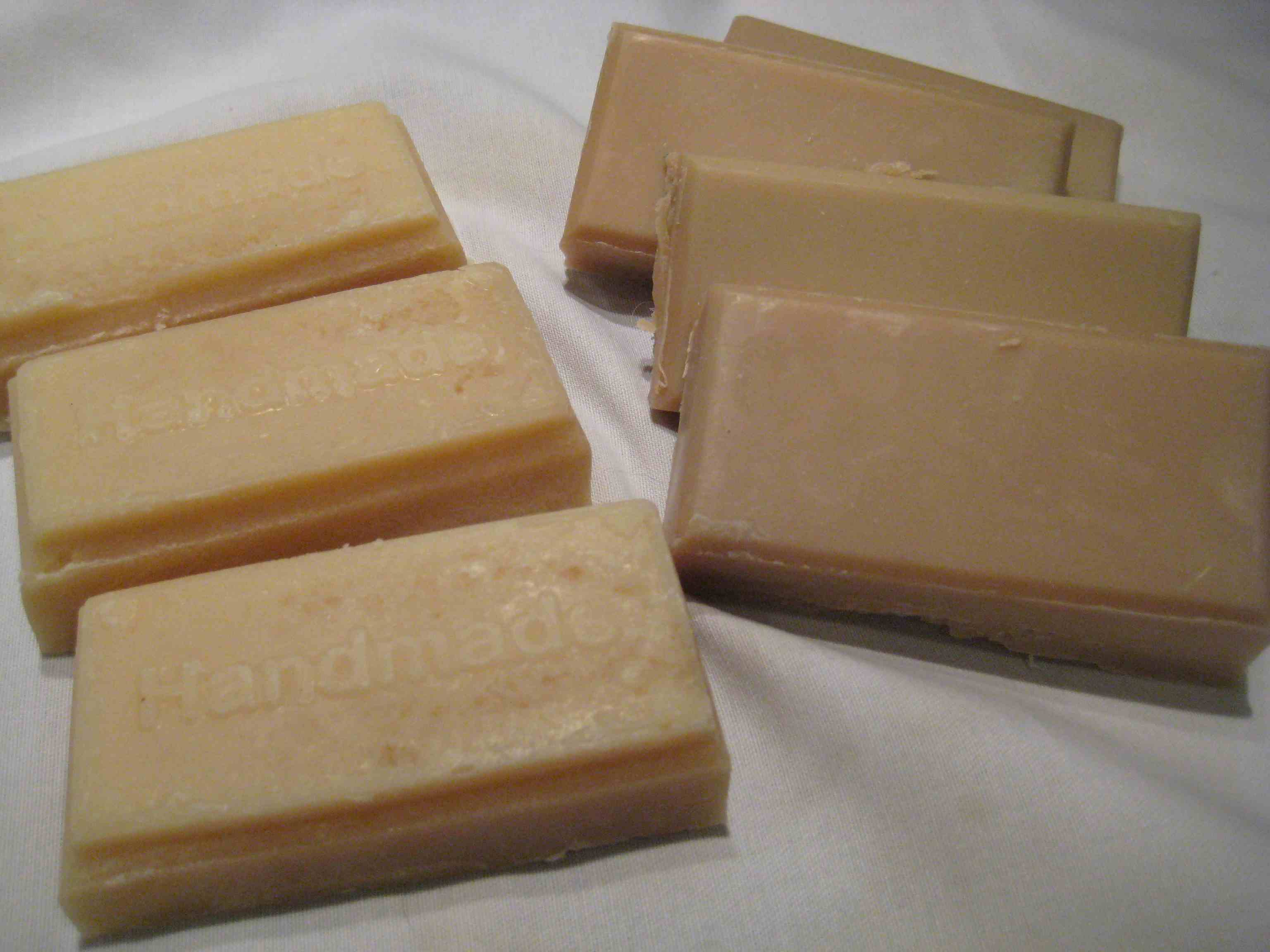 Finished soaps made with heavy cream