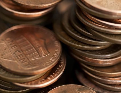 Close up of stacks of pennies