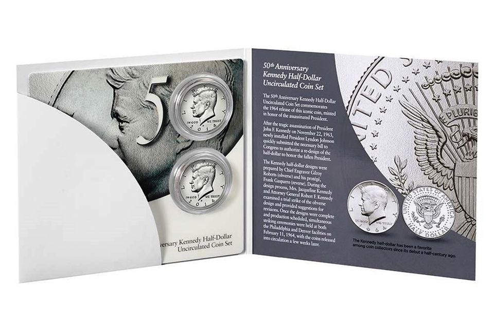 The 2014 50th Anniversary High Relief Clad Kennedy Half-Dollar Set.