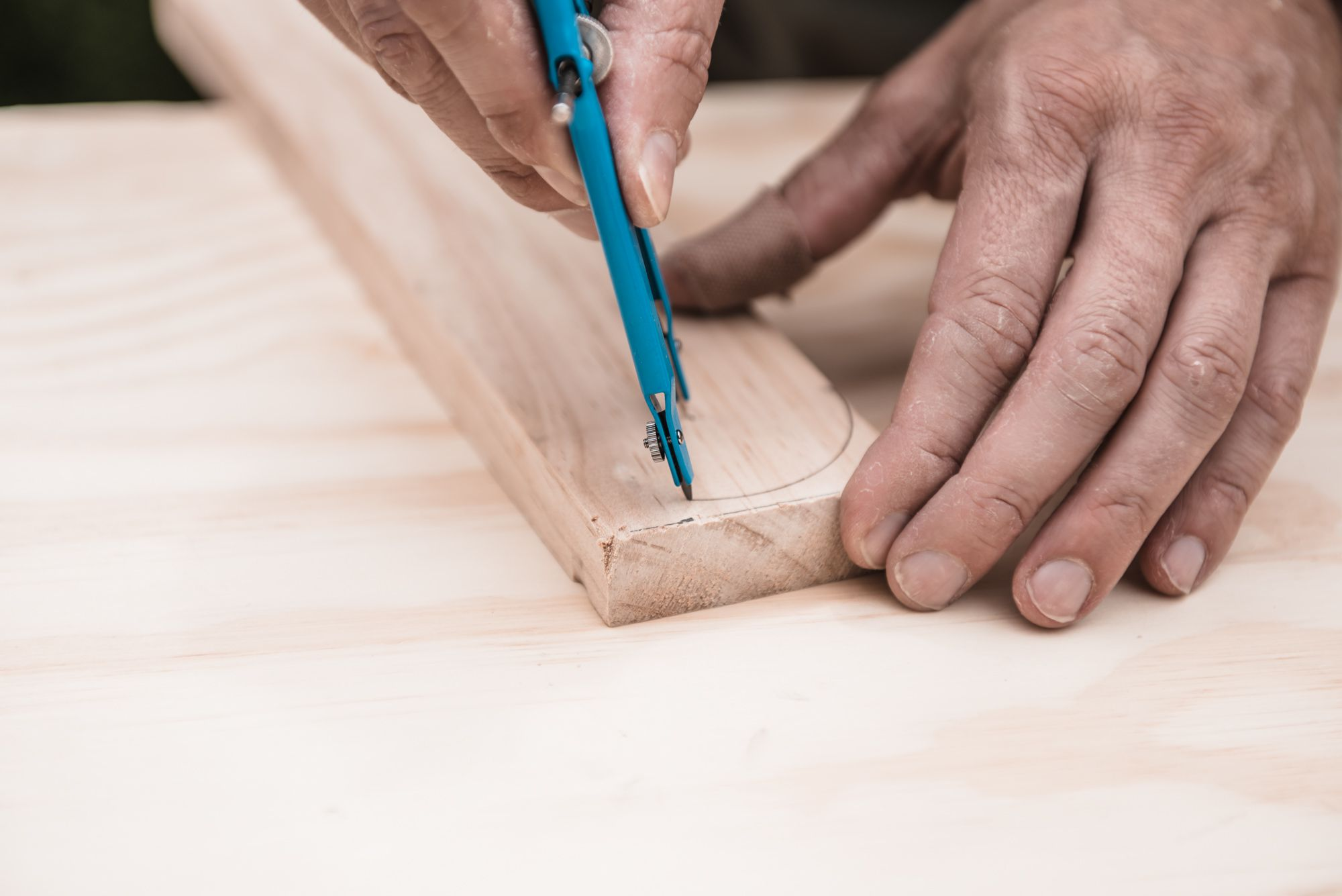 drawing a semi-circle on wood