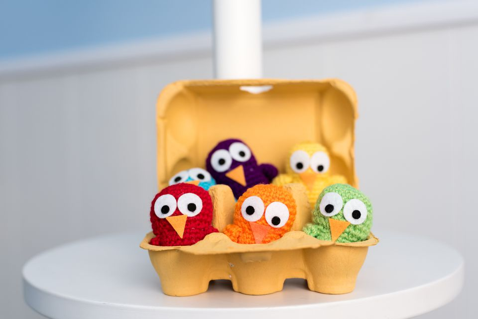 crocheted chicks in egg carton