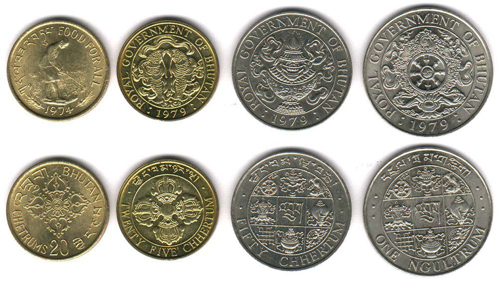 These coins are currently circulating in Bhutan as money.