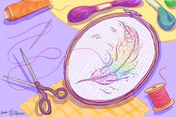 Illustration of feather embroidery