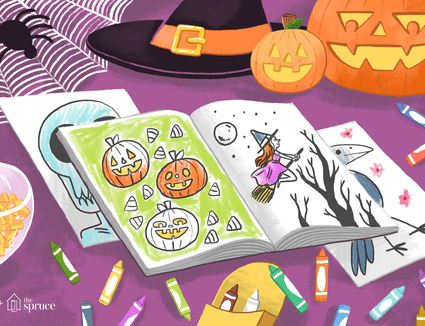 Illustration of Halloween coloring pages by crayons and decorations
