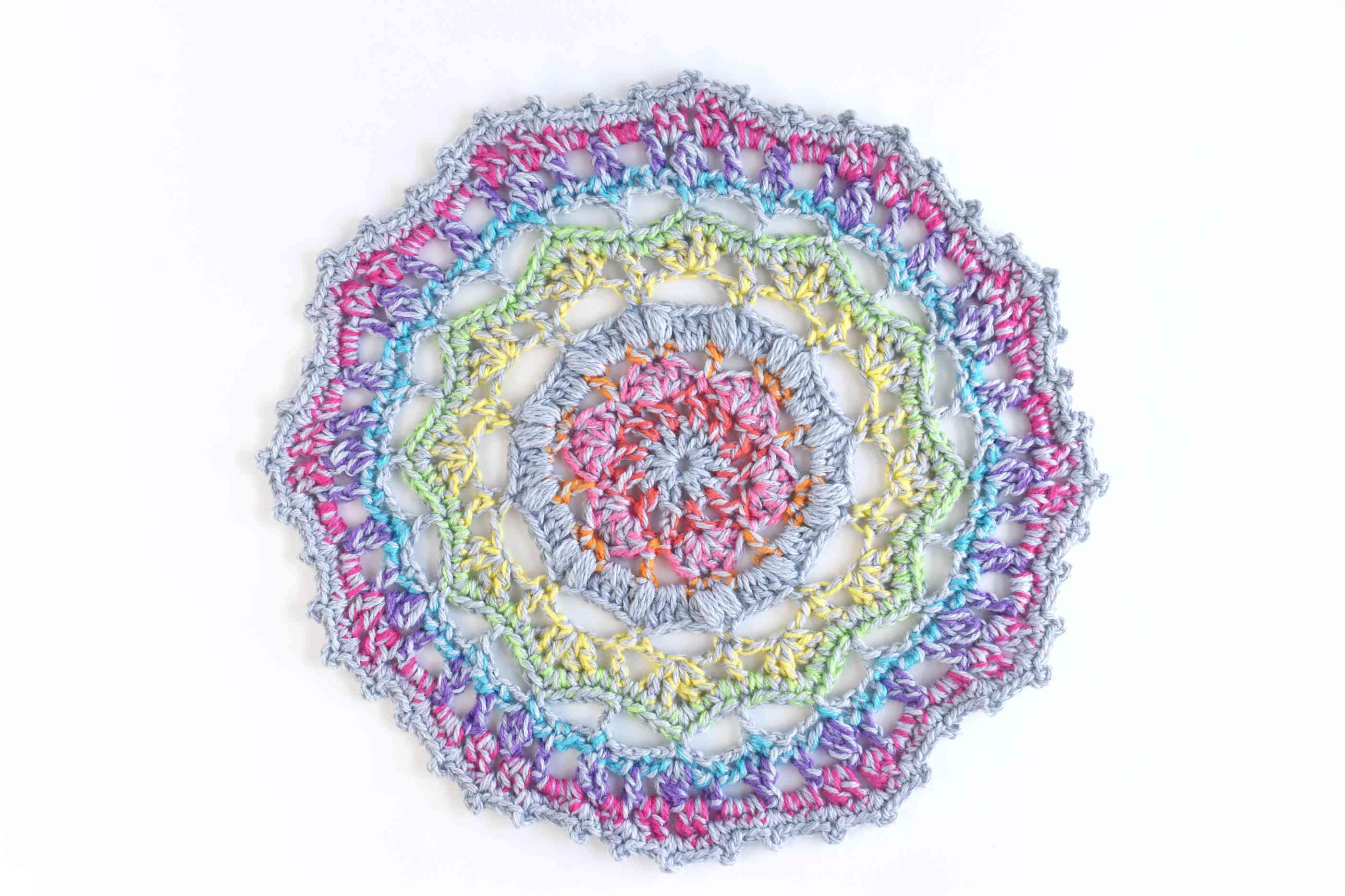 Finished Crochet Rainbow Mandala