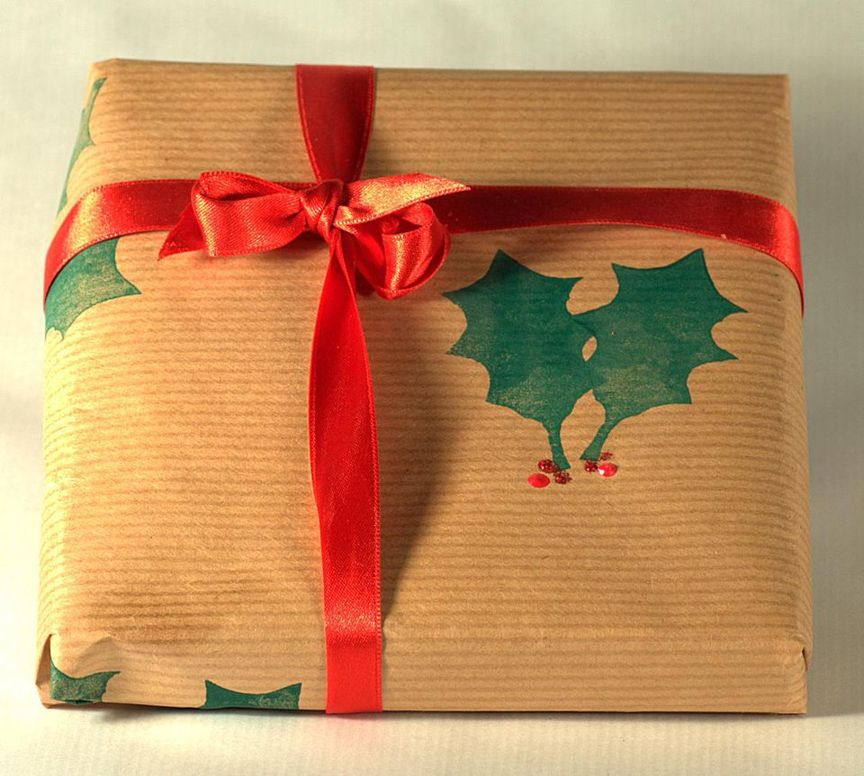 Hand stamped gift wrap