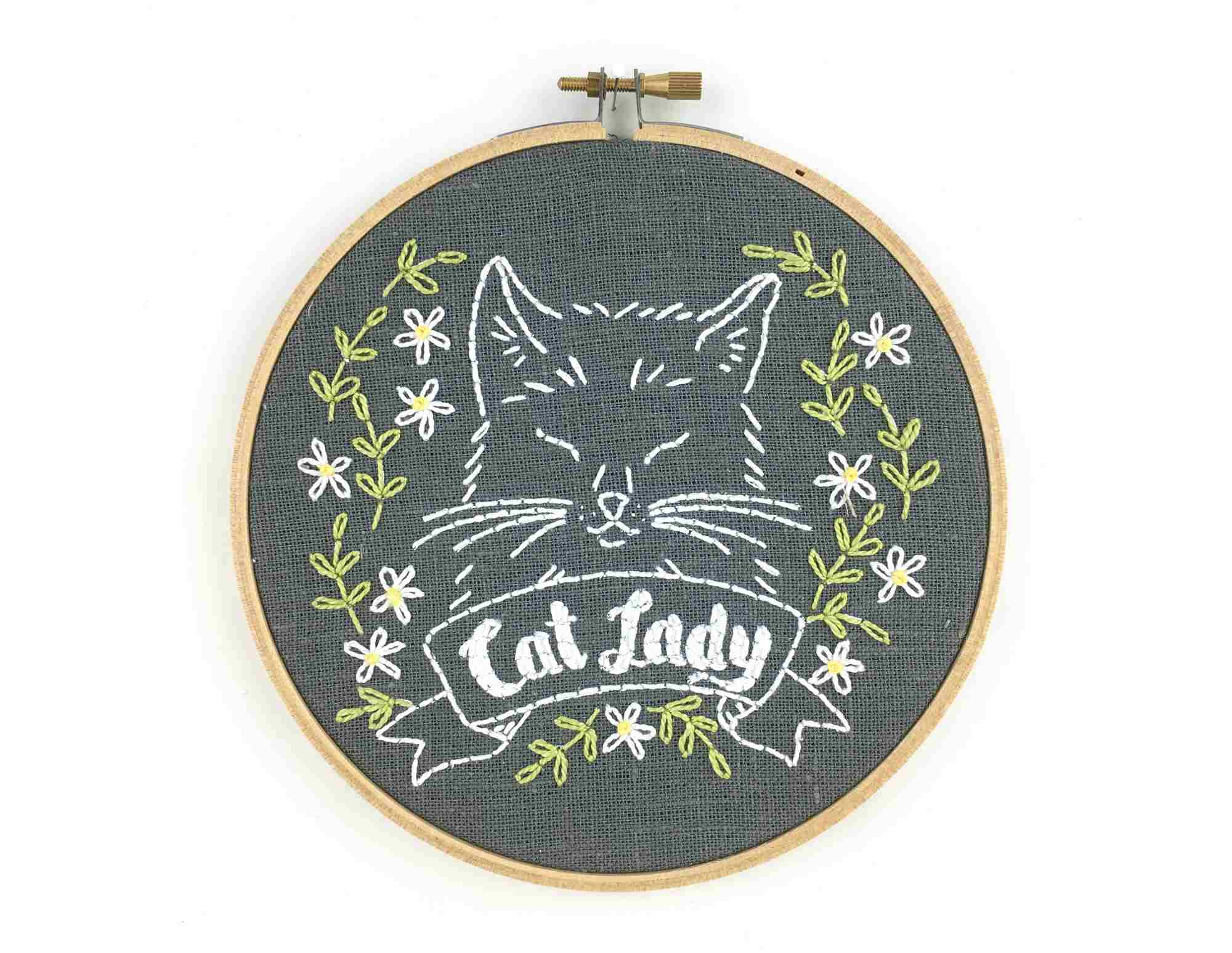 Cat Lady Hand Embroidery Pattern