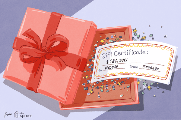 illustration of a homemade gift certificate in a gift box