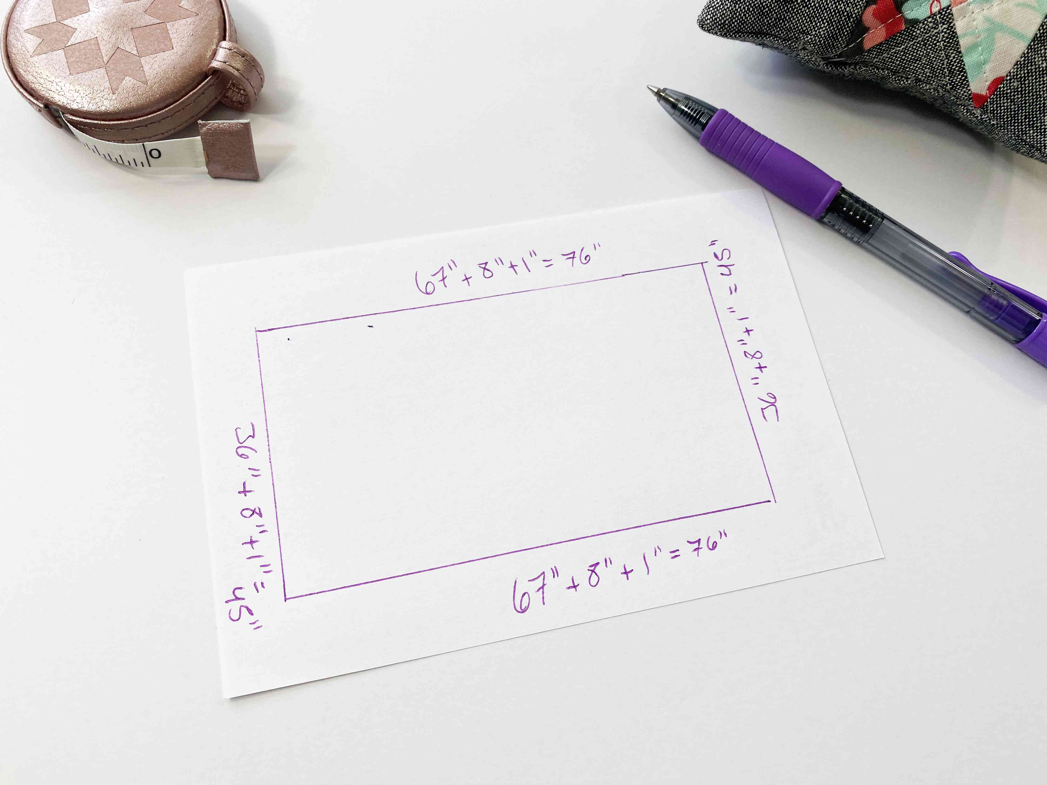 A diagram of a table, a pen, and other sewing notions