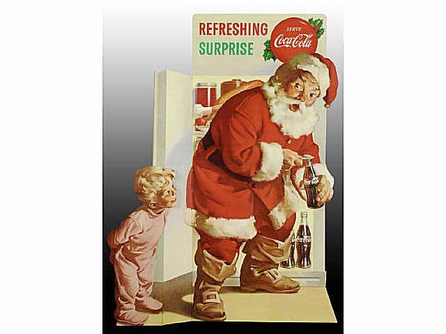 Cardboard Coca-Cola Santa Easel-Back Display