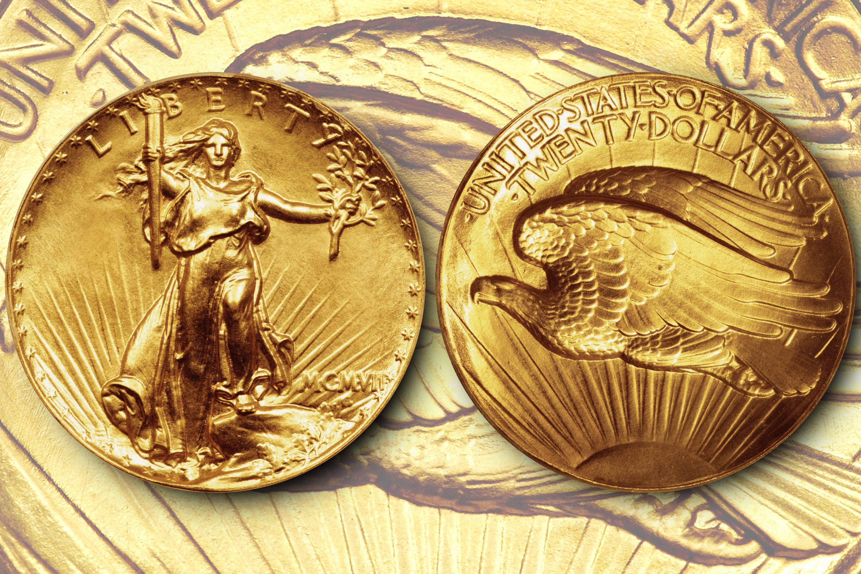 1907 Saint-Gaudens double eagle $20 gold coin.