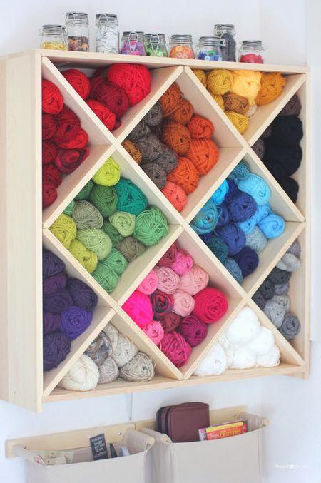 Wooden Yarn Storage Bowl Crochet Skeins Yarn Holder Organizer For Knitting