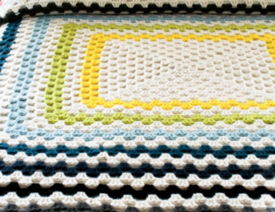 Large Granny Square Crochet Blanket