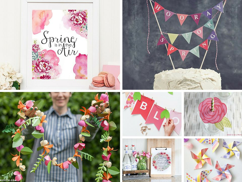 A collage of spring printables.