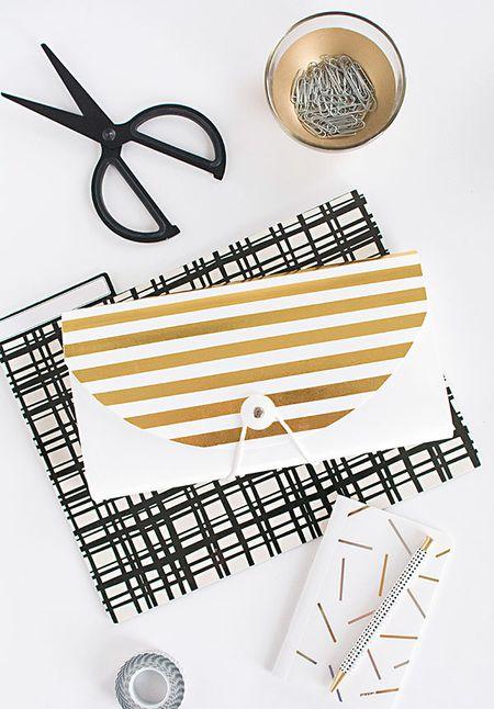 42 diys for a beautiful organized office diy gold striped file folder solutioingenieria Choice Image