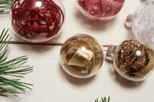 filled clear glass ornament