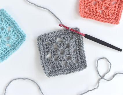 three crochet granny squares