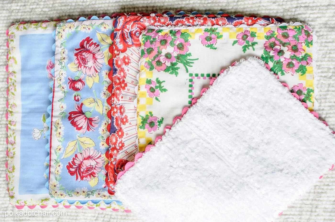 Burp cloths made from colorful handkerchiefs