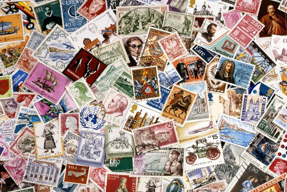 Postage stamps, full frame