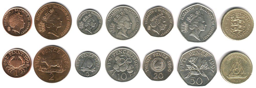 These coins are currently circulating in the Isle of Guernsey as money.