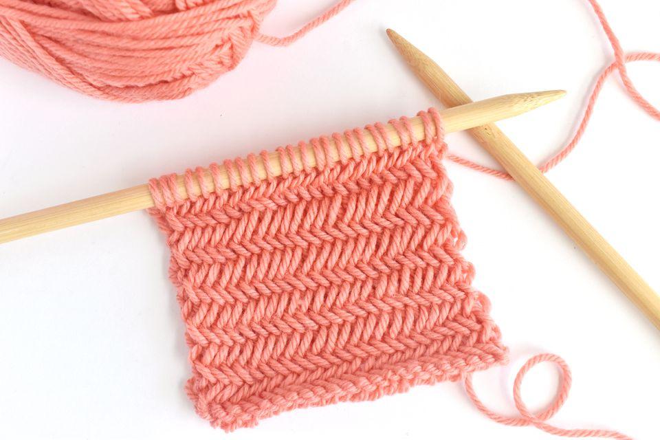 Herringbone Knitting Stitch Sample on Large Needles