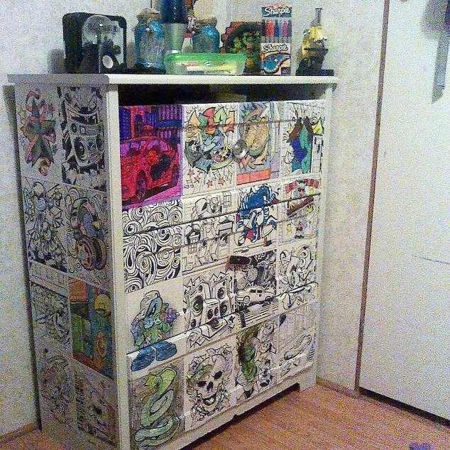 coloring book decoupaged dresser