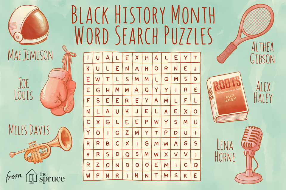 Illustration of black history month crossword
