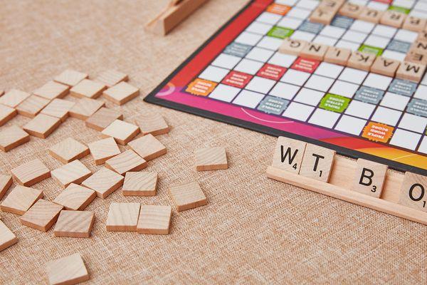 Scrabble letter tiles