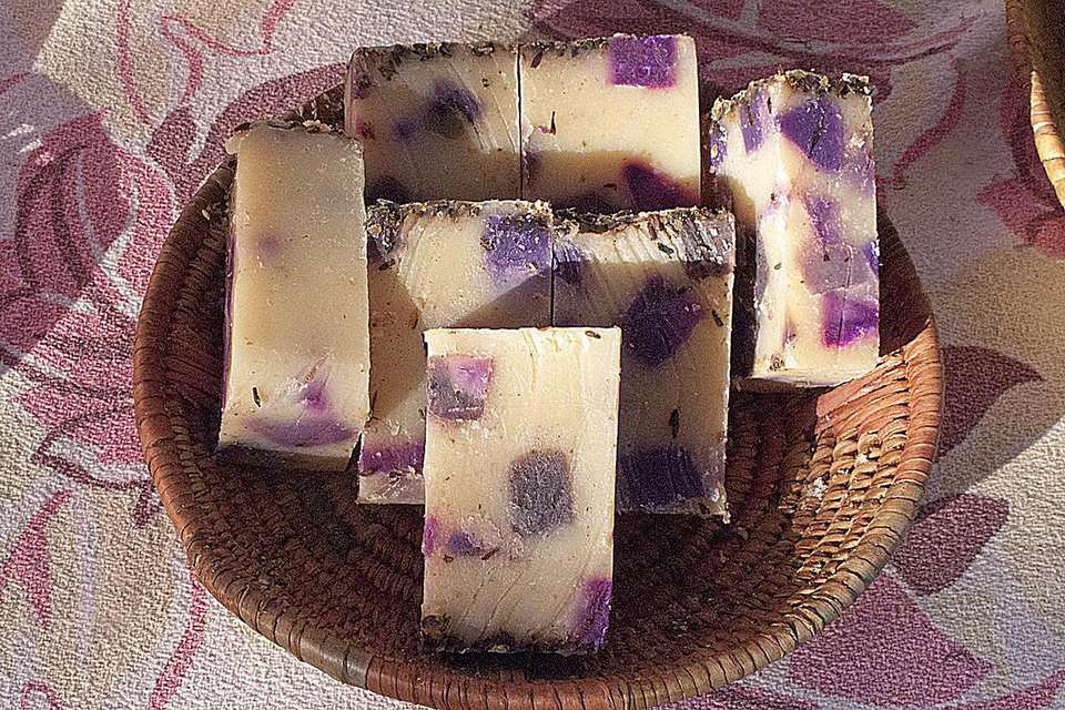 Homemade lavender soap display