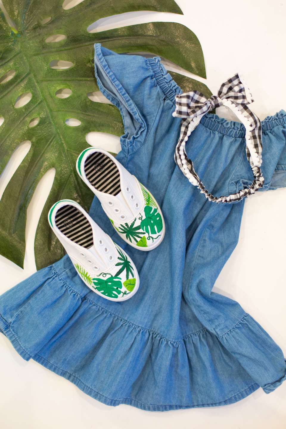DIY painted canvas shoes on dress