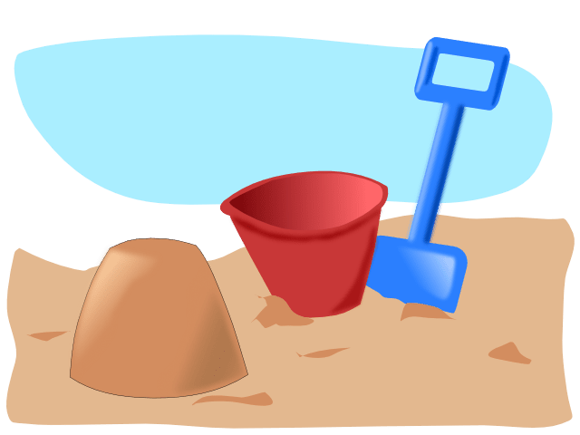 A sand pail and shovel