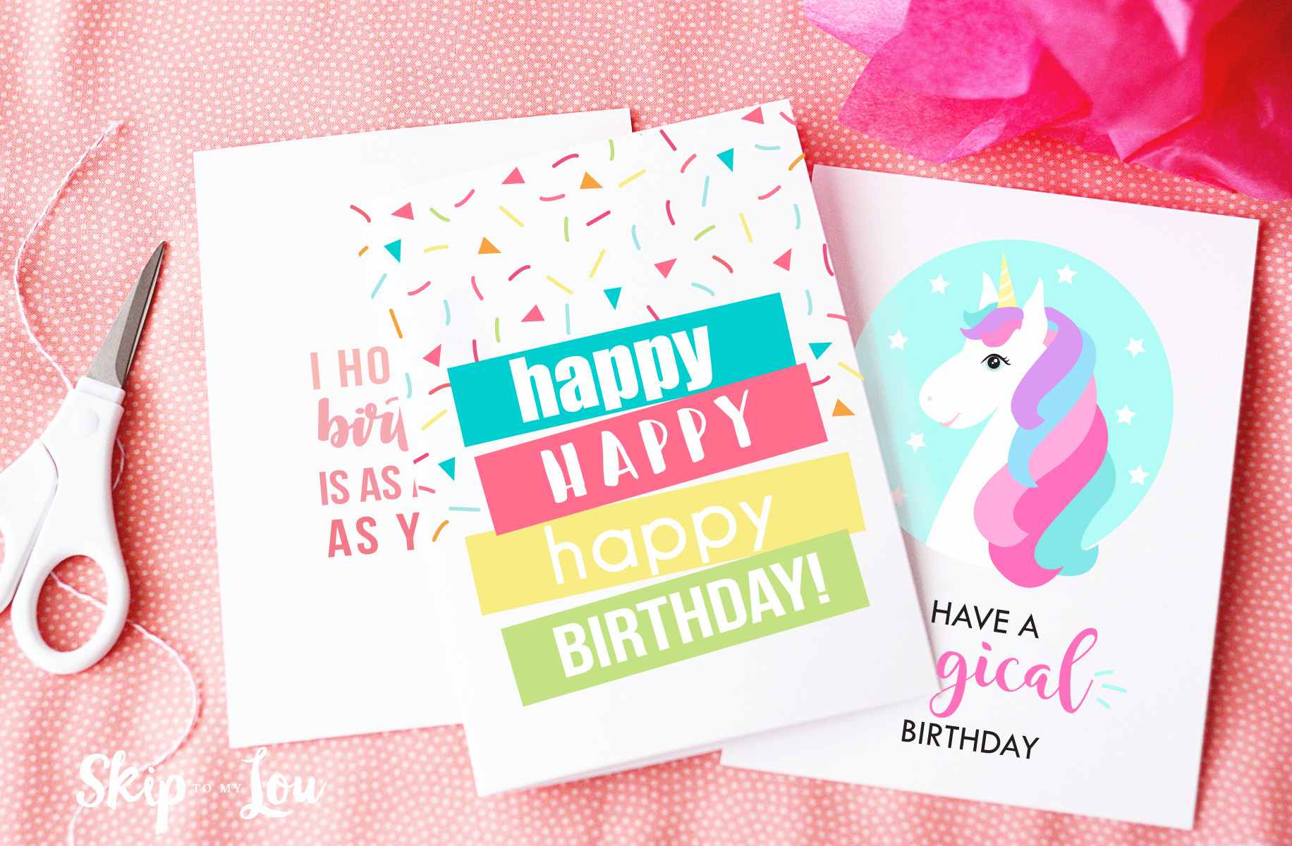 Three Birthday Cards On A Table With Scissors