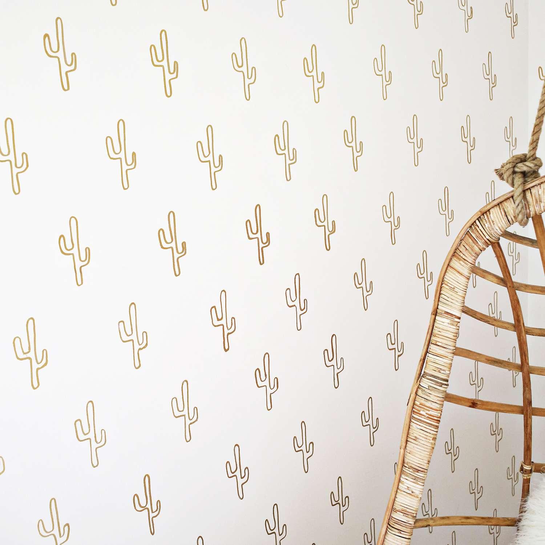 DIY Gold Cactus Wallpaper