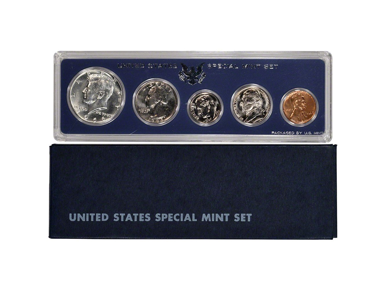 1966-S.M.S SPECIAL MINT SET ONE SET FROM SHIPPING BOX PROOF-LIKE SILVER HALF #6a