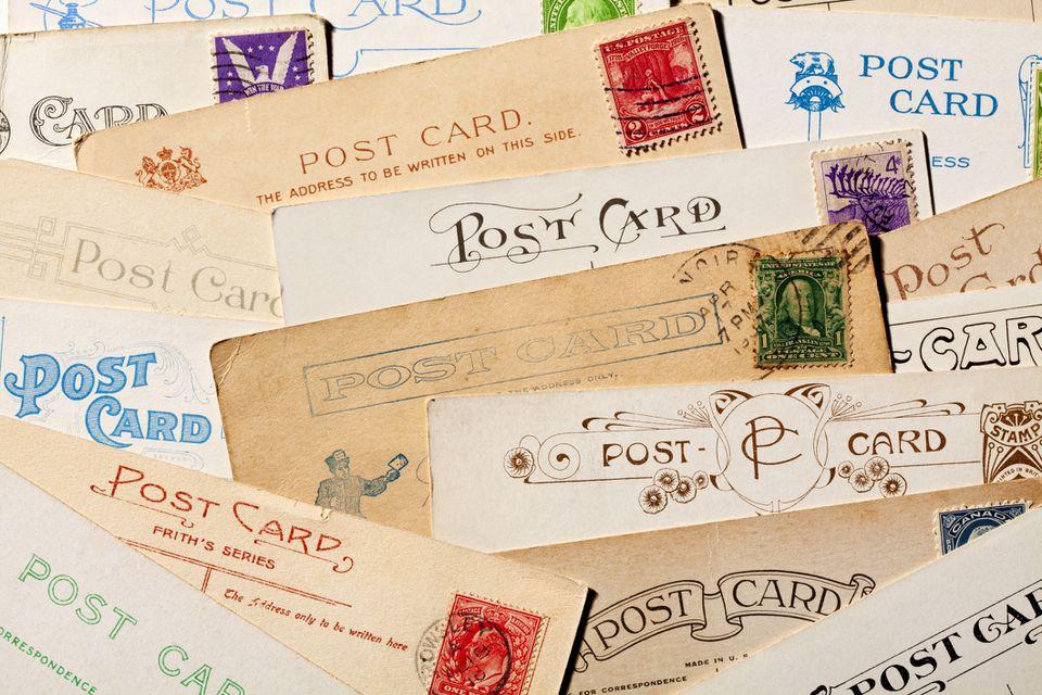 Background of Old, Blank Postcards. Full Frame, XXXL