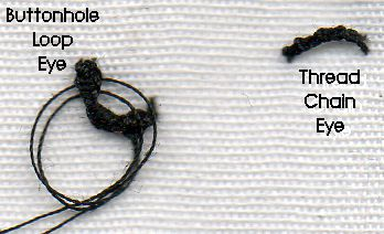 buttonhole loop eye and thread chain eye