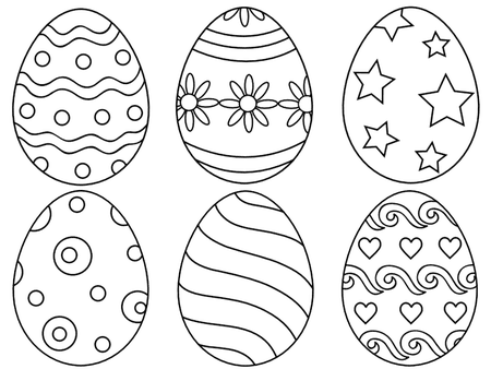 Six Easter Eggs With Various Designs